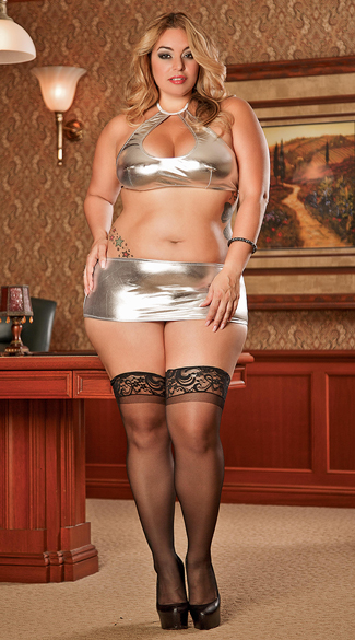 Plus Size Metallic Halter Top and Skirt - Silver