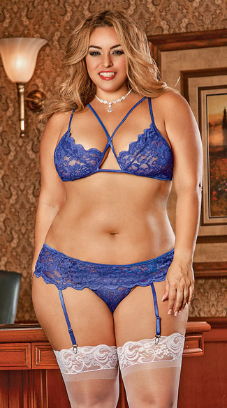 Plus Size Lacy Criss-Cross Three Piece Bra Top Set - Blue