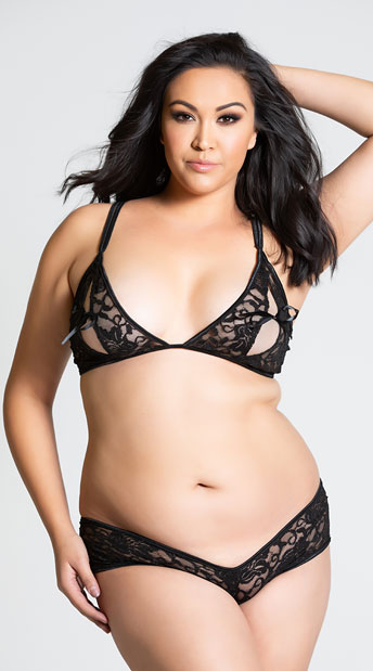 Plus Size Open Cup Lace Bra And Crotchless Panty Set - Black