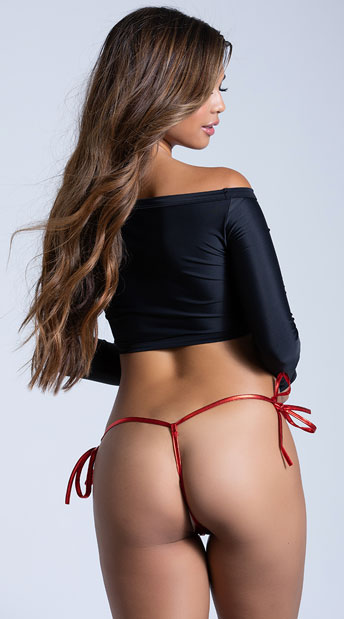 Crotchless Tie Side G-String - Red
