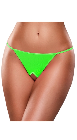 Plus Size Crotchless Neon G-String - Lime