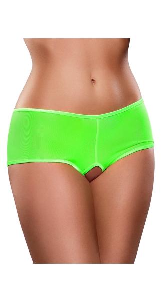 Plus Size Crotchless Mesh Boyshort - Lime