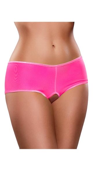 Plus Size Crotchless Mesh Boyshort - Pink