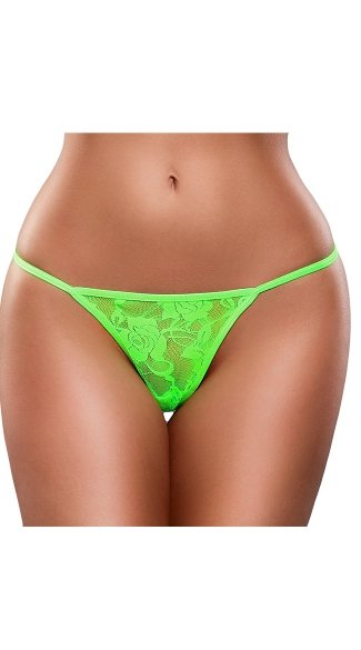 Plus Size Neon Lace G-String - Lime