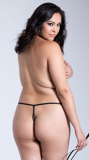 Plus Size Crotchless Bondage G-String - Black