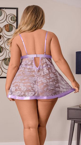 Lavender Lace Satin Babydoll Set - Lavender