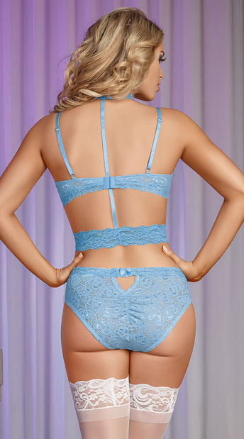 Choker T-Strap Bra Set - Light Blue