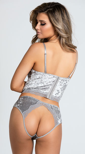 Crushed Velvet Be With Me Bustier Set - Platinum