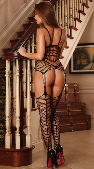 Caged In Desire Bodystocking with Garters - Black