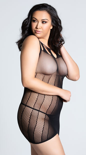 Plus Size Sheer Mesh Cut-out Dress - Black