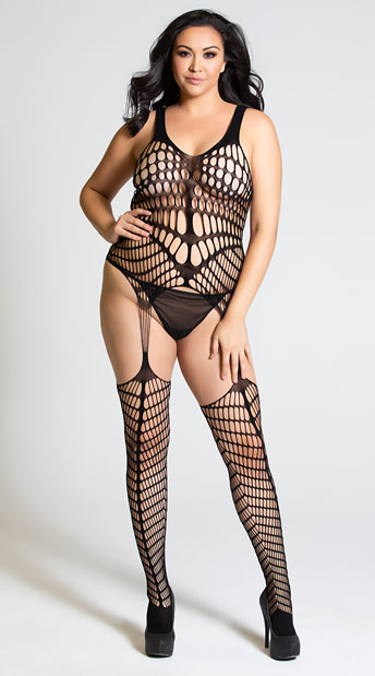 Plus Size Caged In Desire Bodystocking with Garters - Black