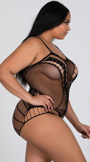 Plus Size Seamless Fishnet Teddy - Black