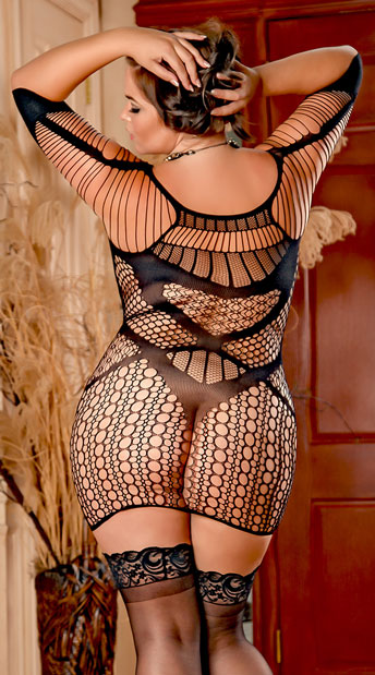 Plus Size Mesh and Net Chemise - as shown