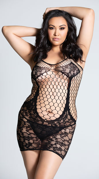 Plus Size Seamless Lace and Net Chemise - Black