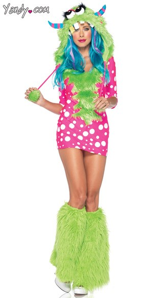 Melody Monster Costume, Pink And White Polka Dot Monster Costume, Rave Costume, rave Outfit, Green And Pink Monster