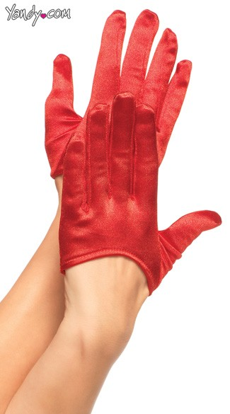 Mini Cropped Satin Gloves - Red