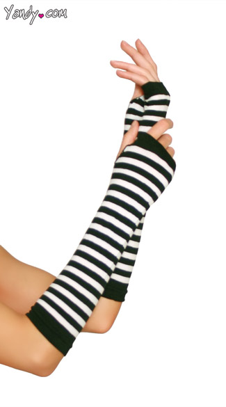 Nylon Striped Arm Warmers - Black/White