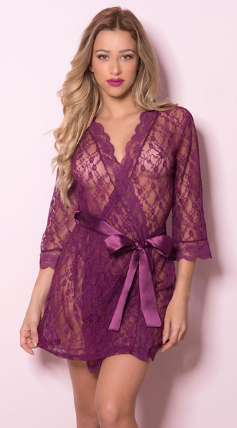 Pretty Scalloped Lace Robe - Amaranth