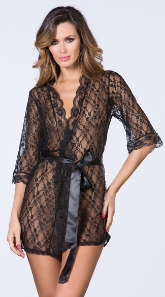 Pretty Scalloped Lace Robe, Sexy Robe, Lacey Robe