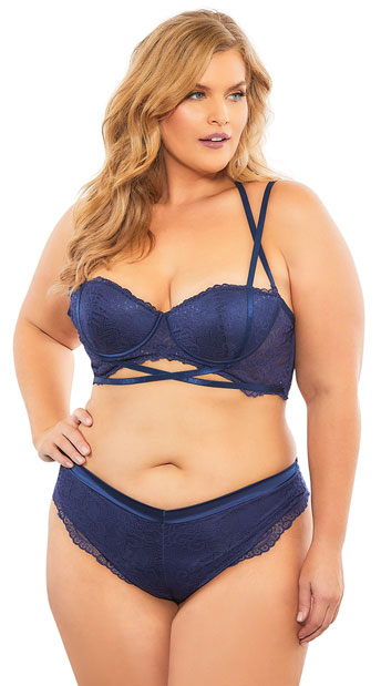 3f68dfb0210 Plus Size Alina Luxe Lace Thong Panty - Estate Blue ...