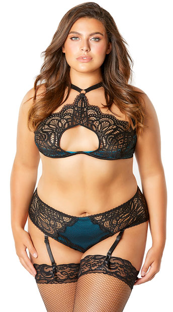 Plus Size The Bernice Look At Me Panty - Black/Peacock