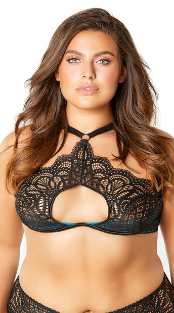 Plus Size Bernice Look At Me Bra - Black/Peacock