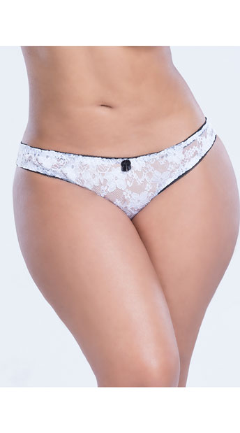 Plus Size Cheeky Show Panty - White