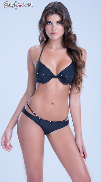 Strappy Bikini with Gold Studs - as shown