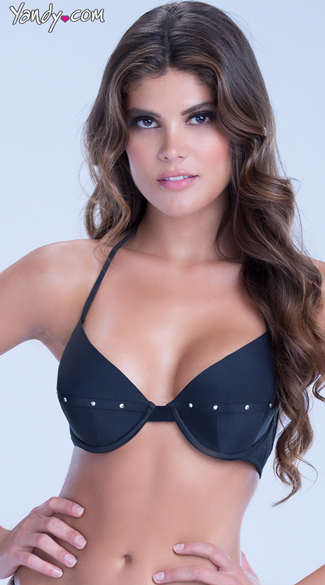 Bra Bikini Top with Gold Studs - Black