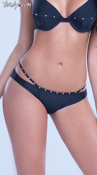 Strappy Bikini Bottom with Gold Studs, Bathing Suit Bottoms, Strappy Swimsuit