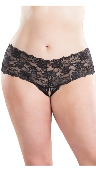 Plus Size Crotchless Lace Boyshort, Plus Open Crotch Boyshort