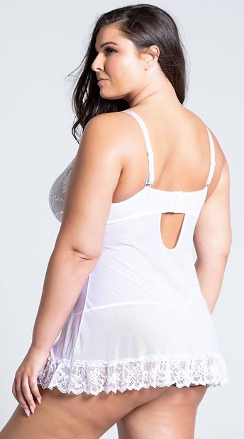 Plus Size Flirty Lace Babydoll Set - White