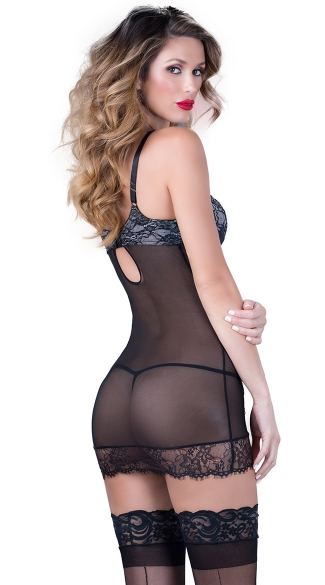 Eyelash Lace Chemise with Strappy Cups - Black/Ivory