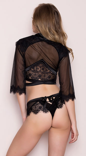 Cropped Eyelash Lace Robe Set - Black