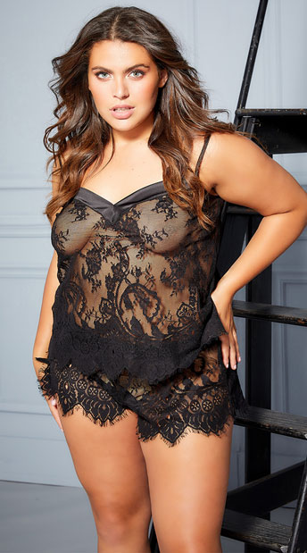 Plus Size Angelina Lace Cami Set - Black
