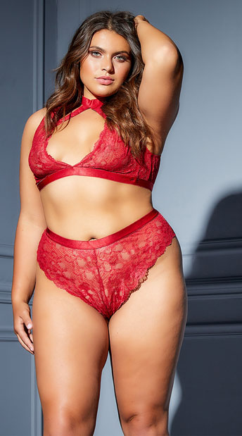 Plus Size Elicia Choke Me Bra Set - Red