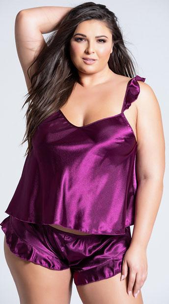 Plus Size Maya Satin Cami Set - Amaranth