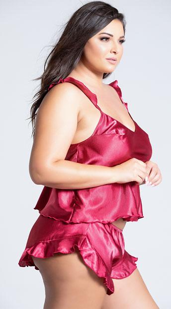 Plus Size Maya Satin Cami Set - Berry