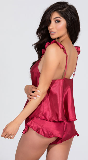 Maya Satin Cami Set - Berry