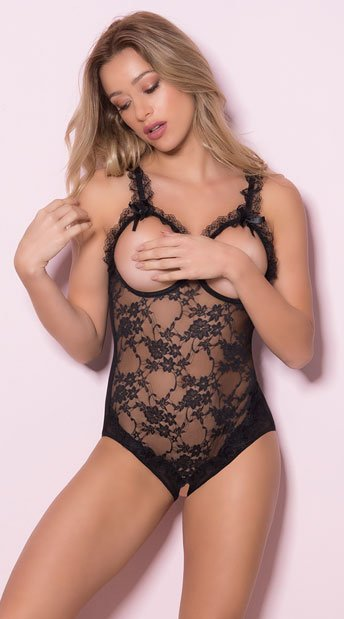 372b2659ad Open Cup Lace Teddy - Black ...