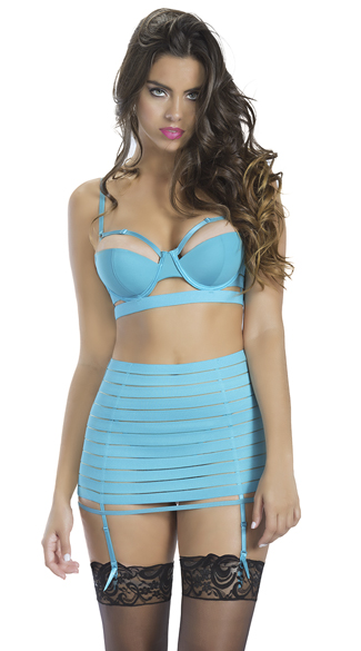 Teal Bandage Style Bra and Garter Skirt - as shown