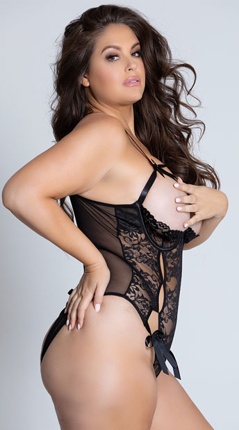 Plus Size Open Cup Mesh and Lace Tie Teddy - Black