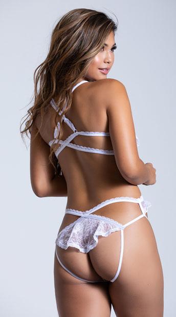 Open Ruffled Lace Teddy - White