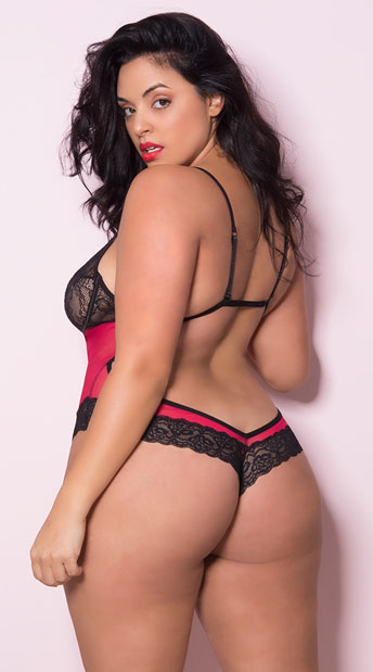 Plus Size If You Dare Teddy - Red/Black