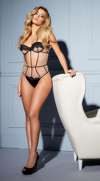 Alyssandra Lavish Beauty Teddy - Black/Nude