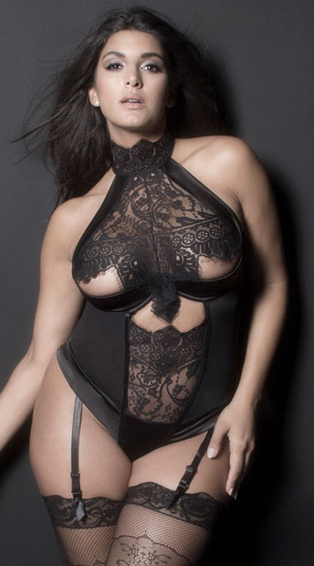 Plus Size Louise Lace Teddy, Plus Size Black Lace Teddy - Yandy.com
