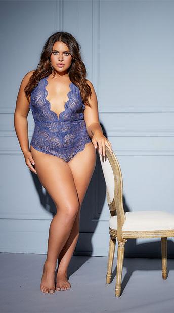 Plus Size Desiree Striped Lace Plunge Teddy - Blue