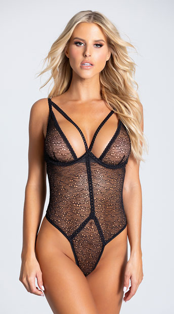 Chantelle Lace and Chain Teddy - Black