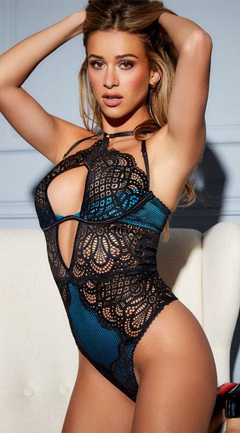 Bernice Lace and Mesh Bodysuit - Black/Peacock