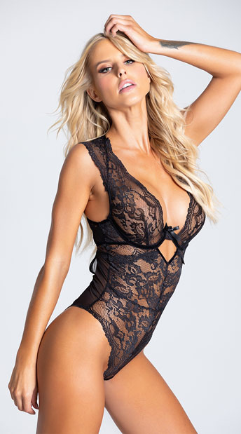 Adelle Dramatic Lace Teddy - Black